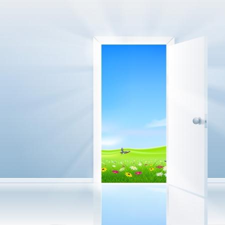 Open door concept  Door opens to a beautifull lush field under a blue sky