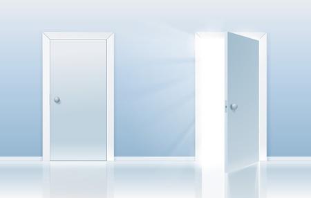 Concepto de abierto y cerrado la puerta de una puerta se cierra y el otro se está abriendo a nuevas oportunidades