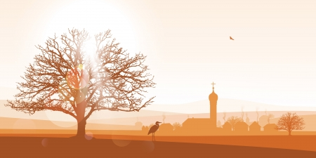 afterglow: beautiful sepia winter landscape illustration of a silhouetted village with a large tree in the foreground