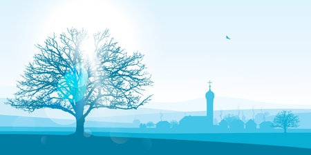 pastoral: beautiful winter landscape illustration of a silhouetted village with a large tree in the foreground