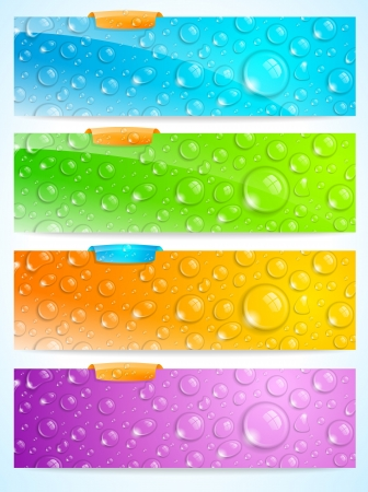 Stylish set of four water drop banners