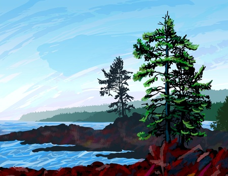 pacific northwest: Beautifull digital painting depicting a scene from the rugged west coast of Vancouver Island BC.