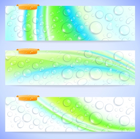 Set of stylish abstract banners with fresh waterdrops