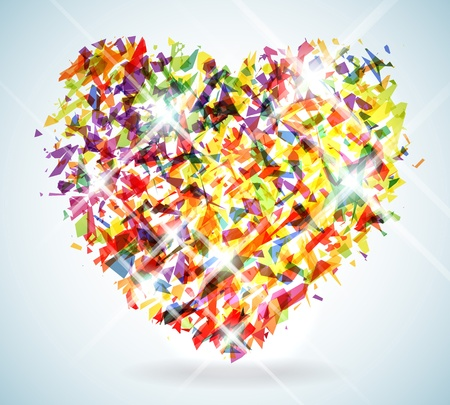 Stylized Heart Illustration made up of thousands of colorful shattered shapes Çizim