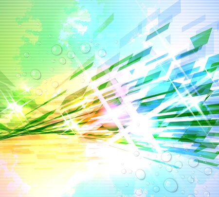 color spectrum: Abstract illustration with shattered elements on soft textured background.