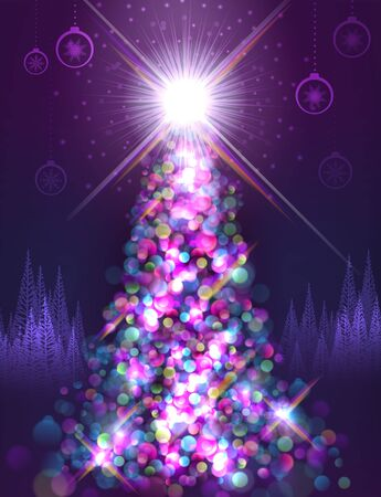 Brightly lit up christmas tree at night Vector