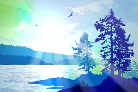 pacífico: Ilustração inspiradora retratando a acidentada costa oeste da British Columbia