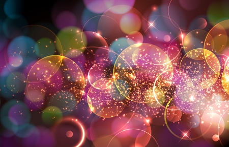 Beautiful abstract illustration with lots of sparkling and defocused lights Çizim