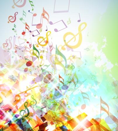 musical notes: Ilustración con elementos rotos de colores y notas musicales.