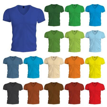 A multicolored set of blank tshirt templates