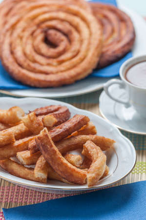 churros: churros with chocolate made by hand at home