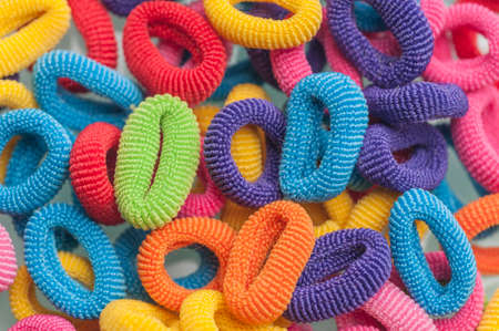 hair multi-colored rubber bands grouped