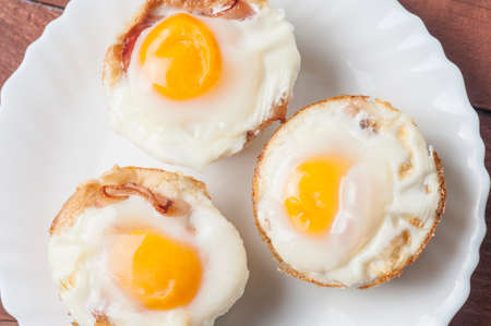 muffins bacon egg and bread Baked