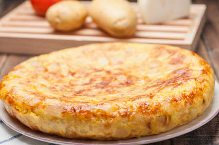 Omelette with onion typical Spanish cuisine