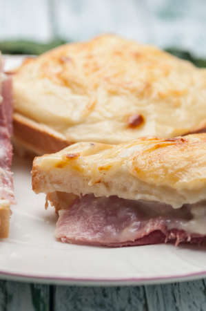 sandwich bread with grated cheese bechamel and ham recipe cooked French croque-monsieur Stock fotó