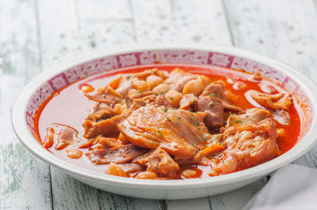 Spanish typical tripe with chickpeas recipe photo