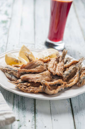 engraulis: Fried anchovies to Malaga style Stock Photo