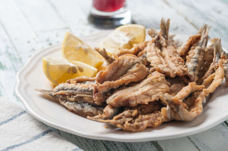 engraulis: Fried anchovies to Malaga style Stock Photo