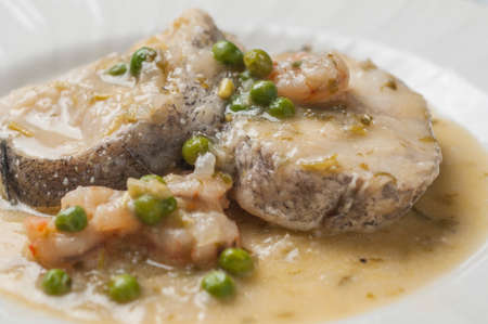 hake: Hake cooked with shrimp and peas