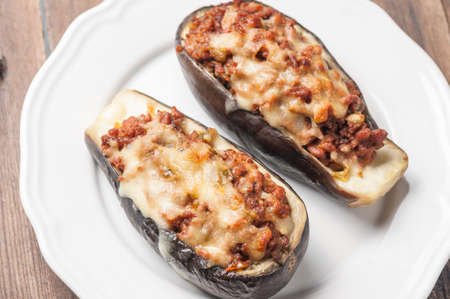 eggplant stuffed with meat and vegetables with melted cheese Stock fotó