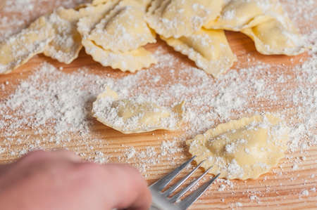 ravioli: fresh ravioli stuffed with mushrooms Stock Photo