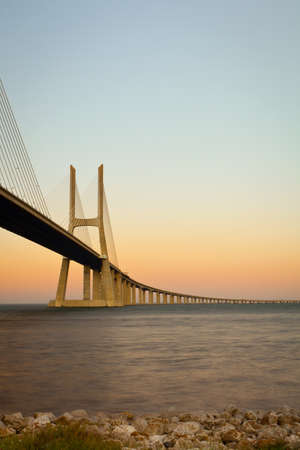 View of Vasco da Gama bridge at sunrise. photo
