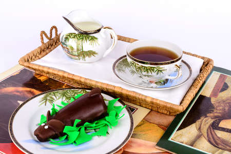 Chocolate cake with tea and milk  photo