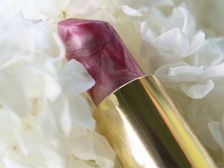 grease paint: cosmetics and lilac blossom tube Lipstick on white Lilac flowers background.