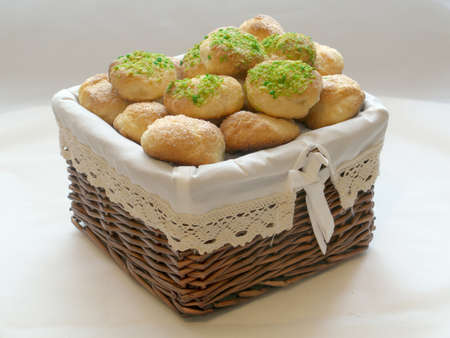 homemade Cookies with the sugar, biscuit with the spices on basket