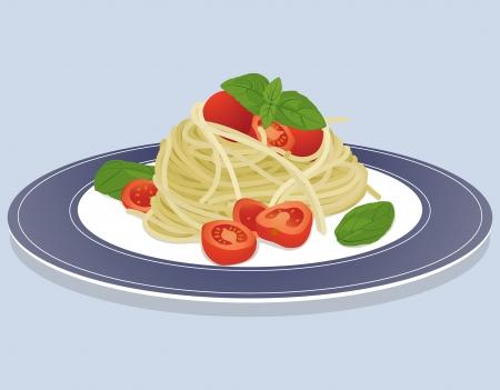 Piatto isolato su sfondo blu con pasta spaghetti, pomodori e basilico Vettoriali