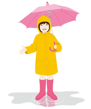 gumboots: Young girl with pink umbrella and yellow raincoat on the puddle on white background Illustration