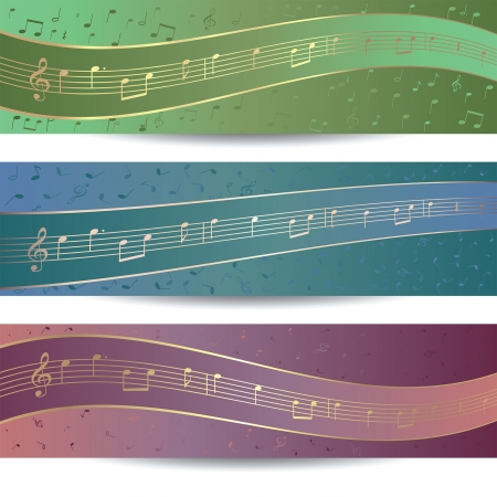 Set of three background design for banner template with sheet music Vector