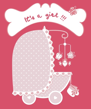 Newborn girl announcement with pram Vector