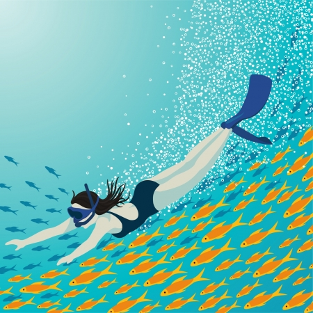 Girl is going snorkeling underwater with colorful fish