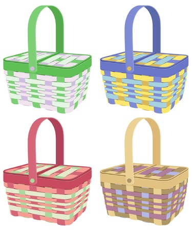 picnic basket: Colorful picnic baskets on white background