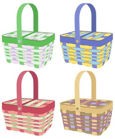 picnic basket: Colorful picnic baskets on white background