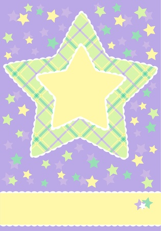 Baby card announcement with big star on light violet background Vector