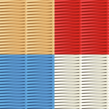 bast: Wicker weave patterns: natural, red, blue and white Illustration