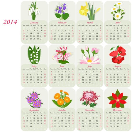 2014 calendar with flowers of the months Stock Vector - 20763545
