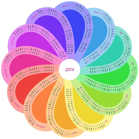 Round calendar for 2014 in rainbow color Vector