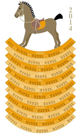 schommelpaard: 2014 kalender met weinig hobbelpaard