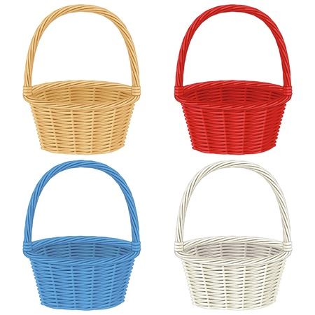 basketry: Colorful baskets isolated on white background Illustration