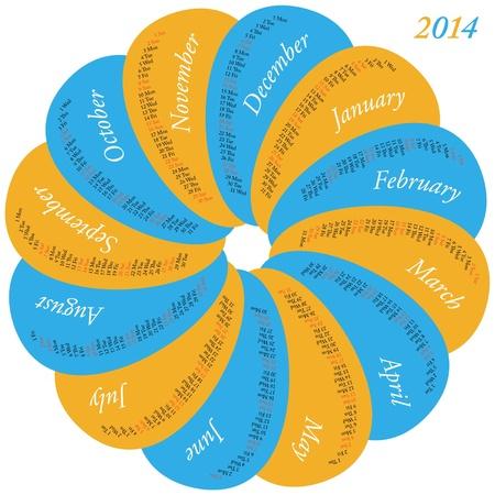 Circular calendar for 2014, each month in a oval Vector