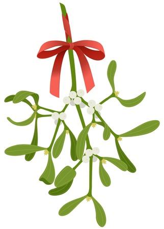 Muérdago con lazo rojo aislado sobre fondo blanco