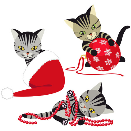 tabby cat: Kittens playing with Christmas decorations Illustration