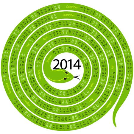 snake calendar: Snake calendar for 2014
