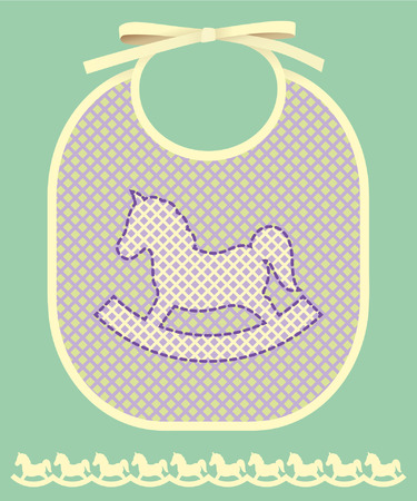 Baby card announcement with bib and horse Vektorové ilustrace