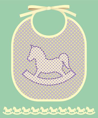 babero: Tarjeta del aviso del bebé con el babero y el caballo