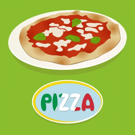 Pizza on green Illustration