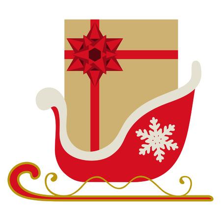 Weihnachtsschlitten mit Geschenk und roter Schleife Vektorgrafik